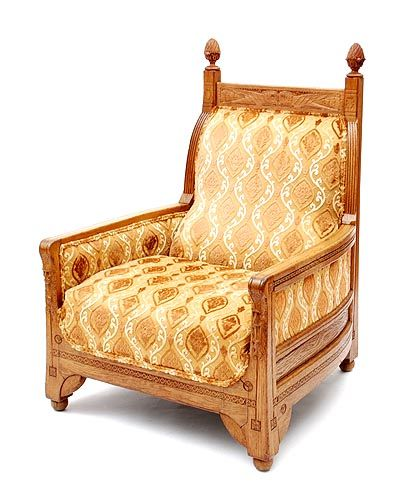 new art deco furniture. very large wooden nieuwe kunst new art fauteuil with carved ornaments in wood and fabric deco furniture