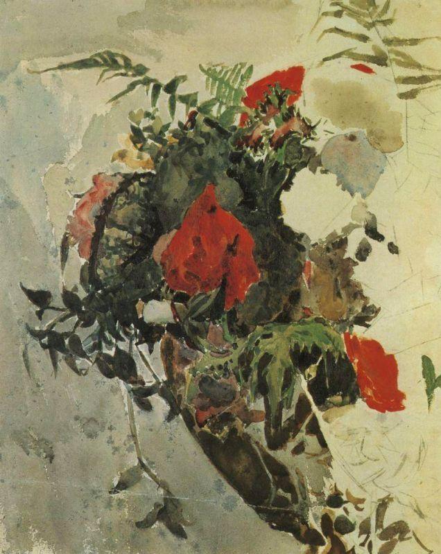 Михаил Александрович Врубель. Красные цветы и листья бегонии корзине. Этюд