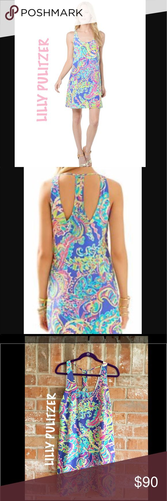 "Poppy Racerback Tank Dress By Lilly Pulitzer EUC This dress is so cute and my daughter only wore it once on vacation. The main pic is not the actual dress I have. I just wanted to give you the idea of the fit. The third pic is my actual dress I'm selling.  Really pretty! Its 36"" long The material is 100% silk shell and 100% polyester lining Lilly Pulitzer Dresses Midi"