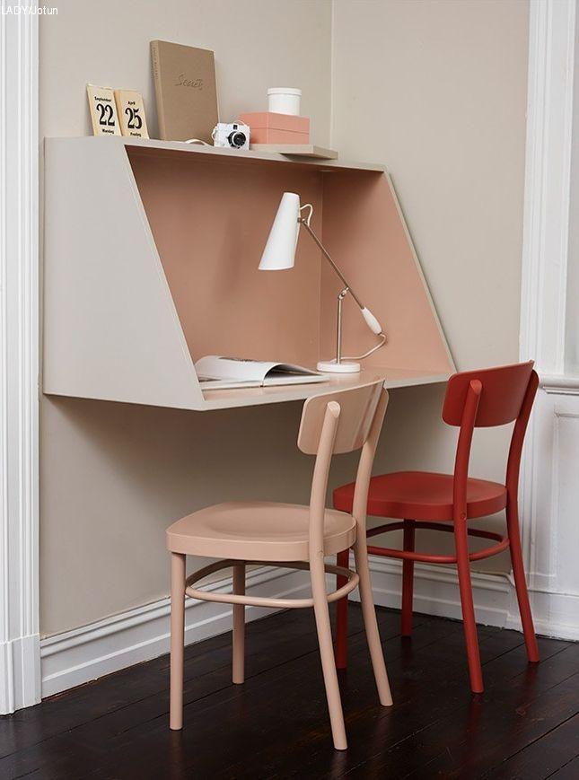 Pequeño home-office   escritorio de pared