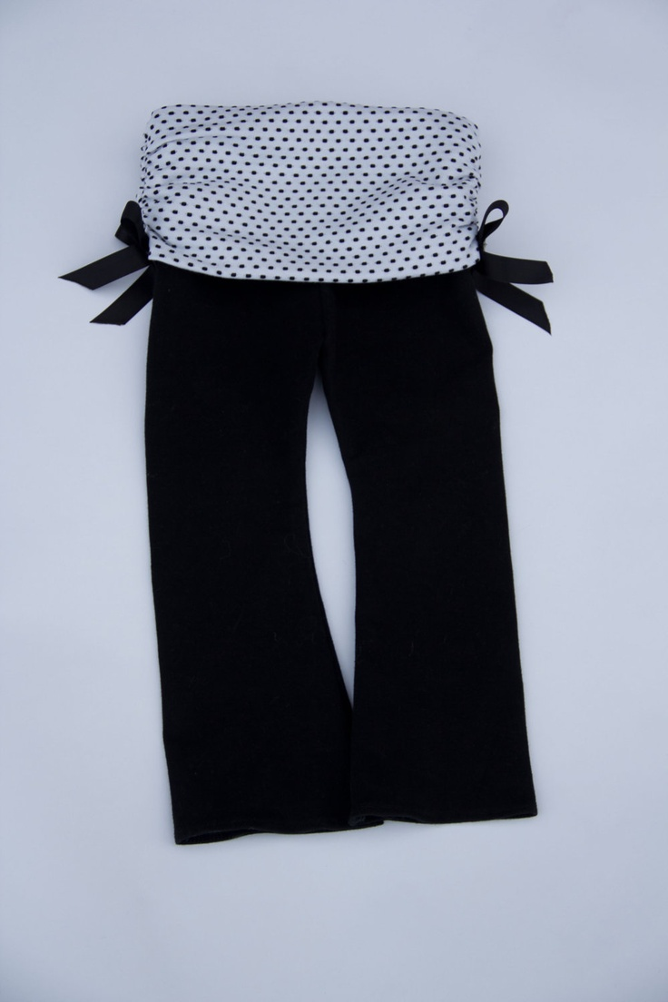 Baby Girl Yoga Pants with Polka Dot Ruched Band and Satin Accent Bows. $28.00, via Etsy.