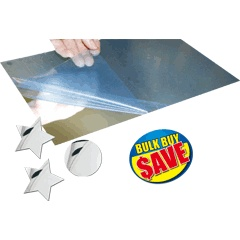 A4 PLASTIC MIRROR SHEETS PACK OF 5: We have these, they scratch rather easily and the image is a little distorted but still good for younger children who may break a glass mirror.