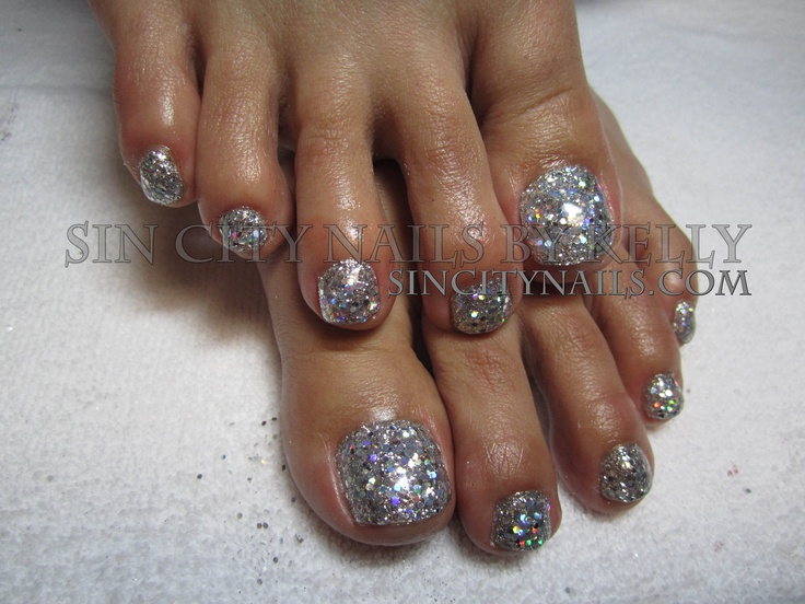 Gorgeous Silver Gel Glitter Toes Toes Pinterest