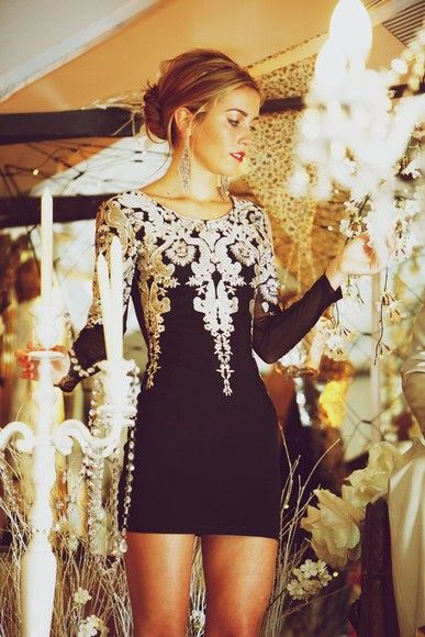 dress black white bodycon pretty ivory longsleeved dress gorgeous little black dress short black dress embroidered party pattern gold shorts...