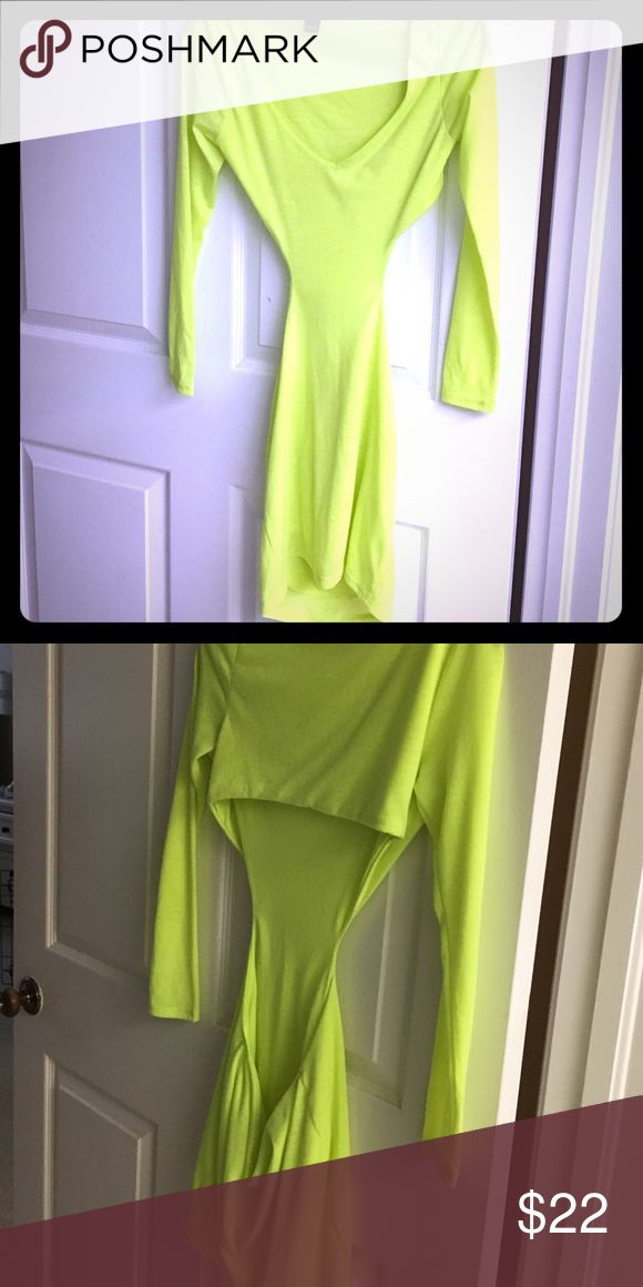 Sexy neon yellow dress Neon yellow dress with cutout to show sides and back. Never been worn . Perfect for a fancy event or to a club . Would fit xs or small WINDSOR Dresses