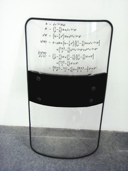 RIOT SHIELD WITH COMPLEX MATHEMATICAL EQUATION USED IN FINANCIAL MARKETS CONTAINING DERIVATIVE INVESTMENT INSTRUMENTS, 2012.