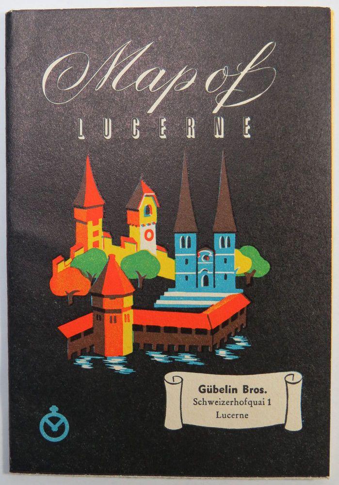 Vintage Map of Lucerne Switzerland List of Hotels Watch Makers Travel Brochure