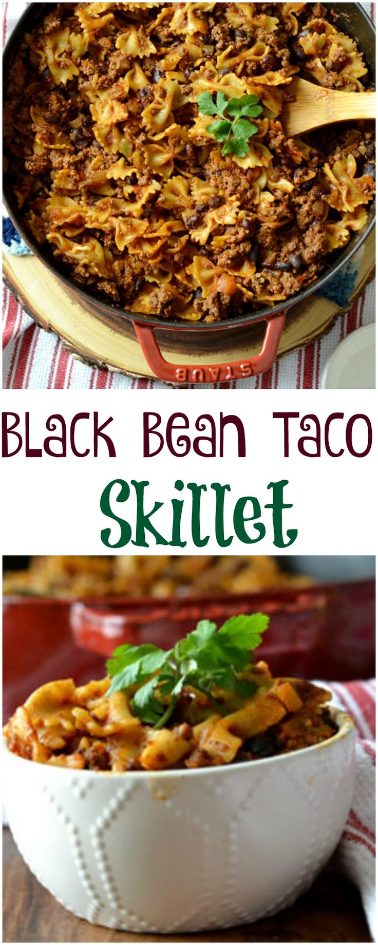 Black Bean Taco Skillet is a quick and easy one pot meal. It is a 35 minute skillet meal perfect for a busy weeknight. It is also dairy free and can be made with gluten free pasta.
