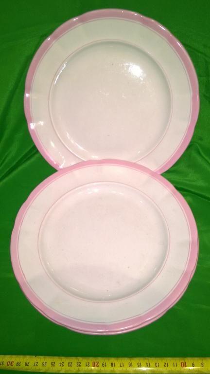 Розовые тарелки. Фарфор. з - д Кузнецова диаметр 245 мм