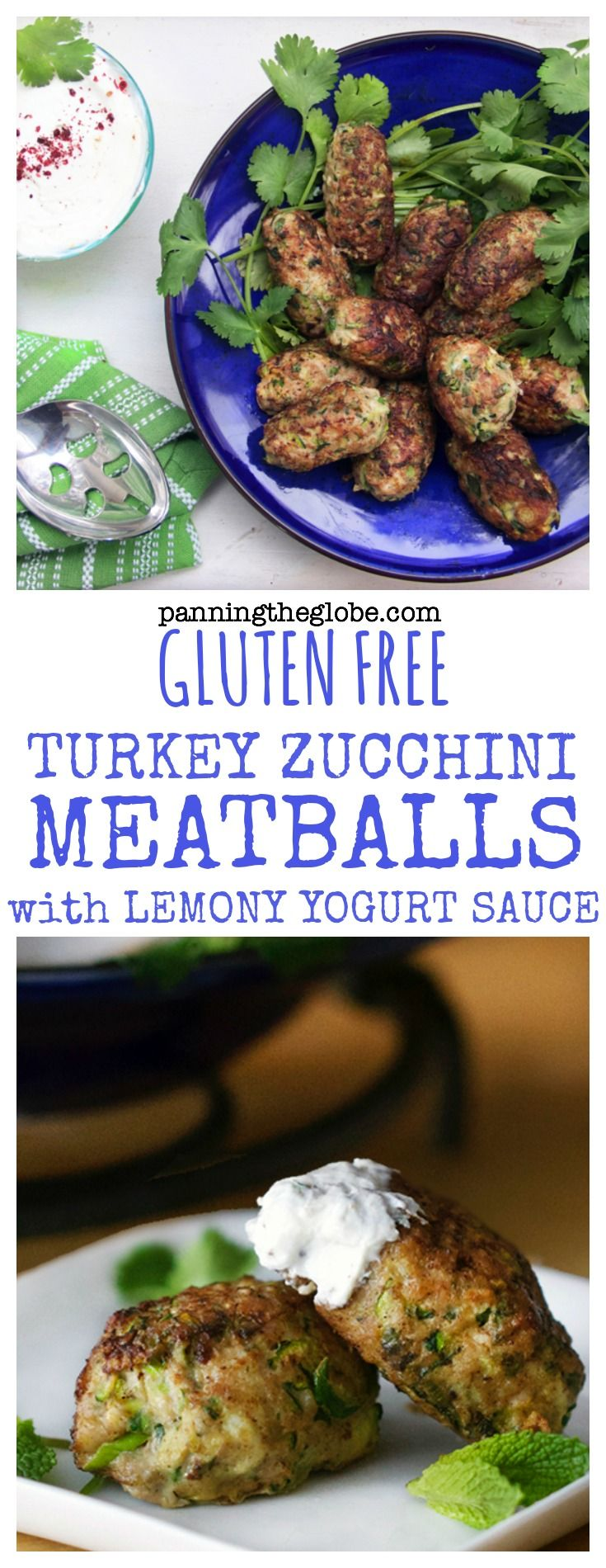 Great as a main course or for appetizers - scrumptious gluten free turkey zucchini meatballs from chef Ottolenghi.