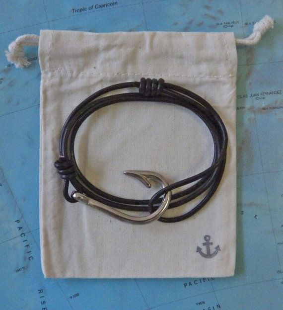 fish hook bracelet - nautical bracelet - men's leather bracelet - beachcomber bracelet
