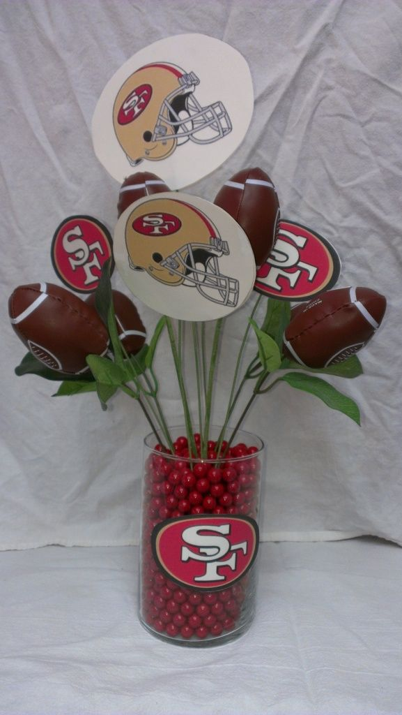 My sister Linda made this super cute centerpiece .  It's perfect for your Super Bowl table-go 49'ers