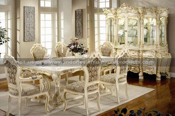Luxury italian furniture white painted luxury for Italian dining room sets