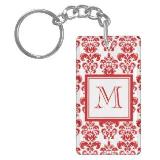 GIRLY RED DAMASK PATTERN 2 YOUR INITIAL RECTANGULAR ACRYLIC KEY CHAIN