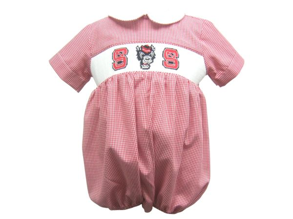 Go Pack! Vive La Fete Collegiate licensed North Carolina State University hand smocked Wolf short sleeve boys bubble in red check