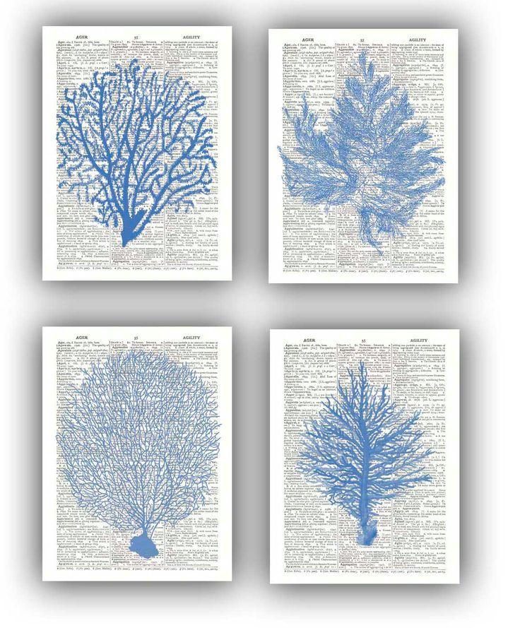 4 Ocean Blue  prints, Sea fan, sea grass, coral, nautical Dictionary Prints, bathroom wall decor, beach decor cottage wall hangings. $28.50, via Etsy.