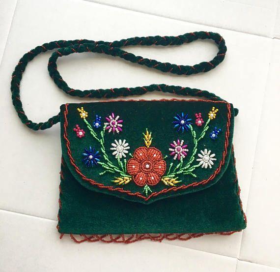 green Velvet Purse Embroidery HandBag Beaded Green bag hand
