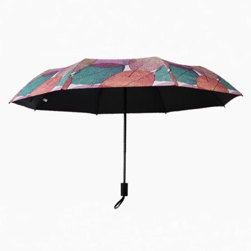 Women Parasol Sun/Rain Waterproof Folding Umbrella Maple Leaf Manual Umbrella