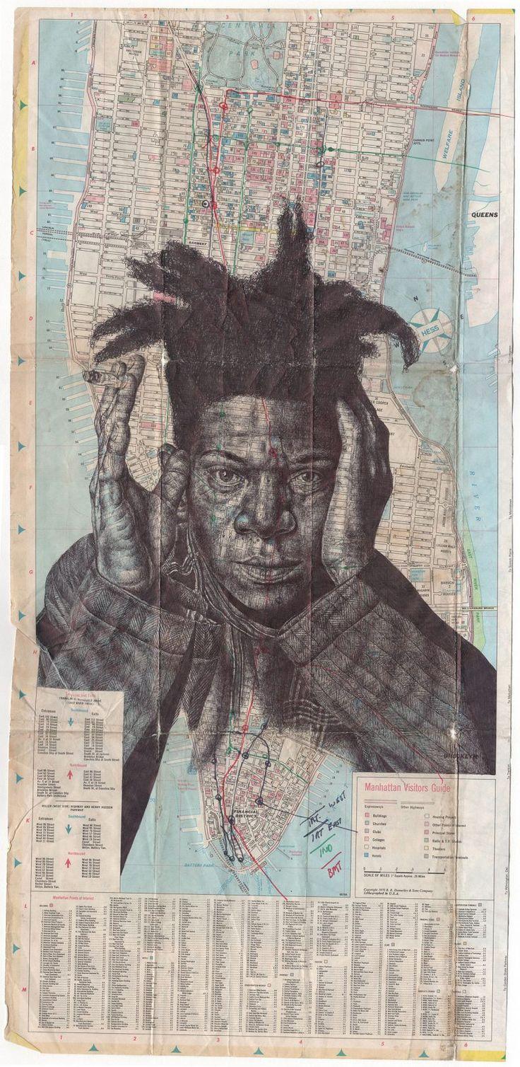 Des portraits au stylo Bic sur des vieilles cartes par Mark Powell - http://www.dessein-de-dessin.com/des-portraits-au-stylo-bic-sur-des-vieilles-cartes-par-mark-powell/