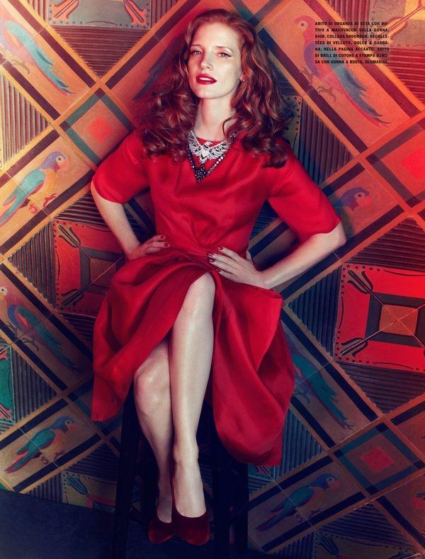 Vogue Italia - Jessica Chastain by Camilla Tisi, via Behance