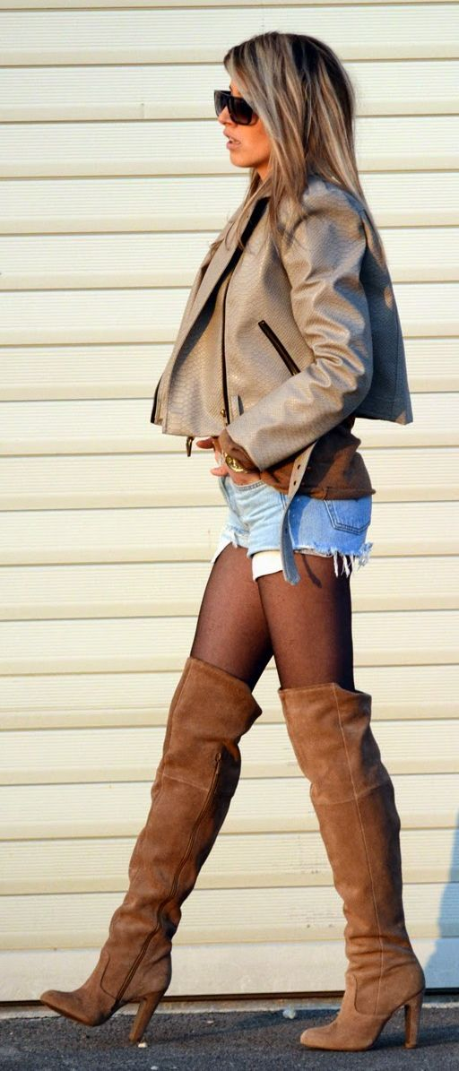 Leather, Denim And Suede Outfit Idea