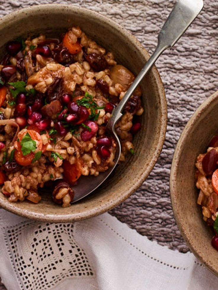 This is a lighter, vegetarian cholent to celebrate the New Year for the trees! Find this 7 Species Cholent recipe here! http://www.joyofkosher.com/recipes/7-species-cholent/