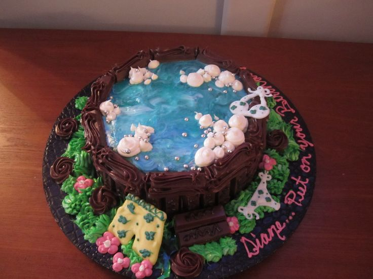Celebrate in your birthday suit!  Hot tub cake with kit kat sides :)