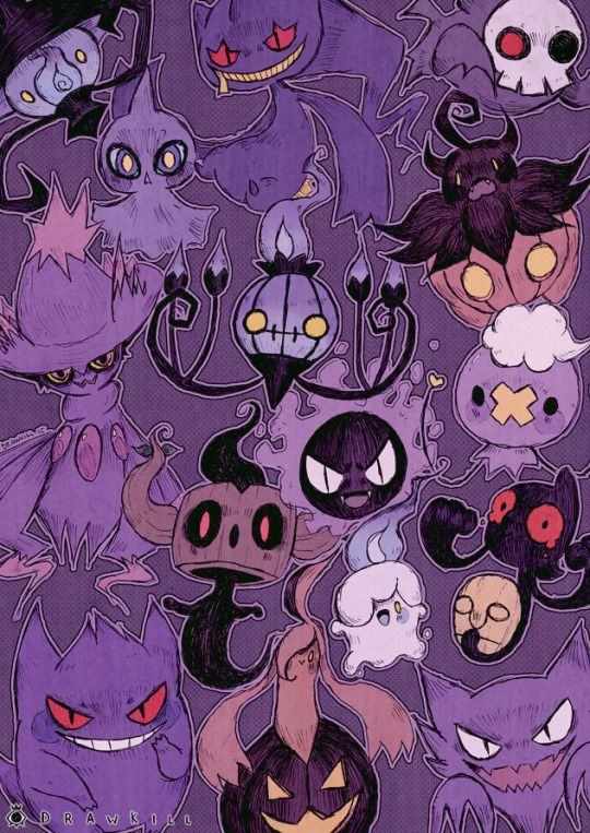 I'm not that into Pokemon, but I thought this picture was worth saving. I like the artist's style, particularly with giving the ghost-types a very Halloween-y feel.