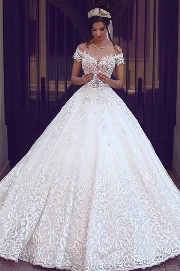 Eyecatching Tulle Off-the-shoulder Neckline A-line Wedding Dress With Lace Appliques