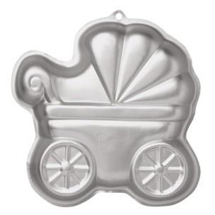 Maak een prachtige kinderwagen taart met dit bakblik.