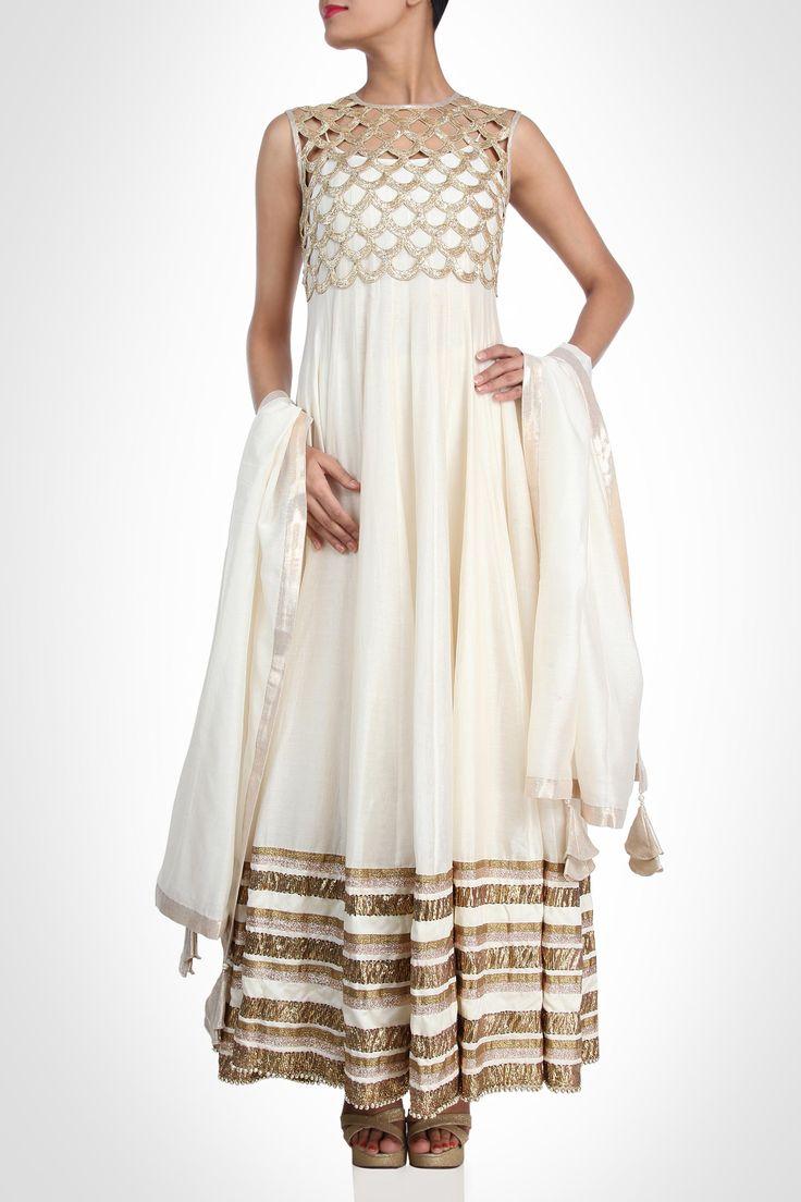 Payal Singhal collection   Anarkali - White Anarkali With Gold Cutwork Crop Jacket