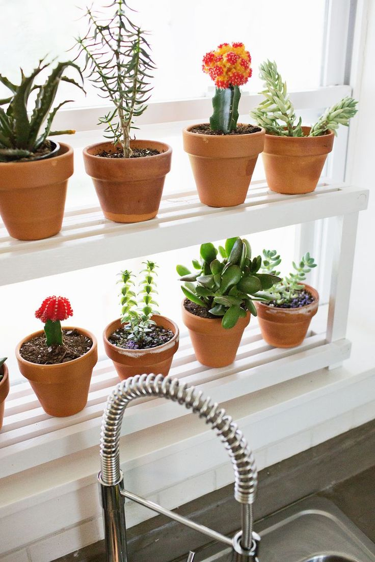 Keeping plants in the window sill is a great way to breathe life into a room. And this DIY shelf makes space for even more flowerpots. The tutorial requires the use of power tools, but the design is actually quite simple to put together. We think this would be the perfect place for a kitchen herb garden.