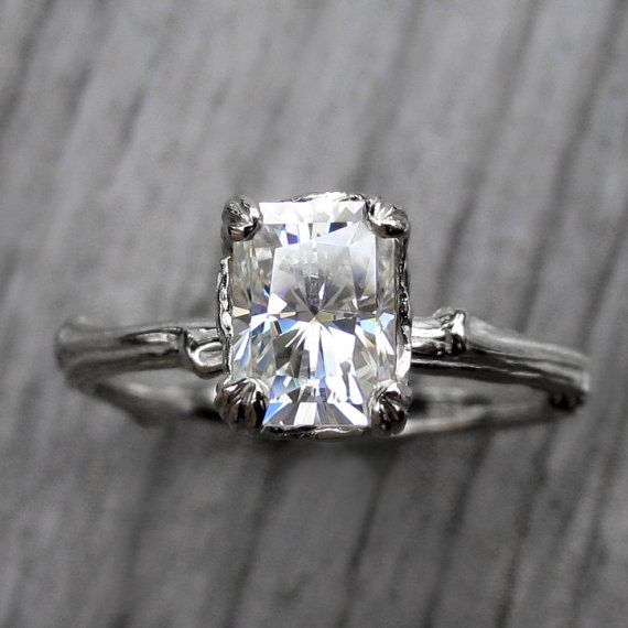 Emerald Moissanite Twig Engagement Ring: Carved by KristinCoffin