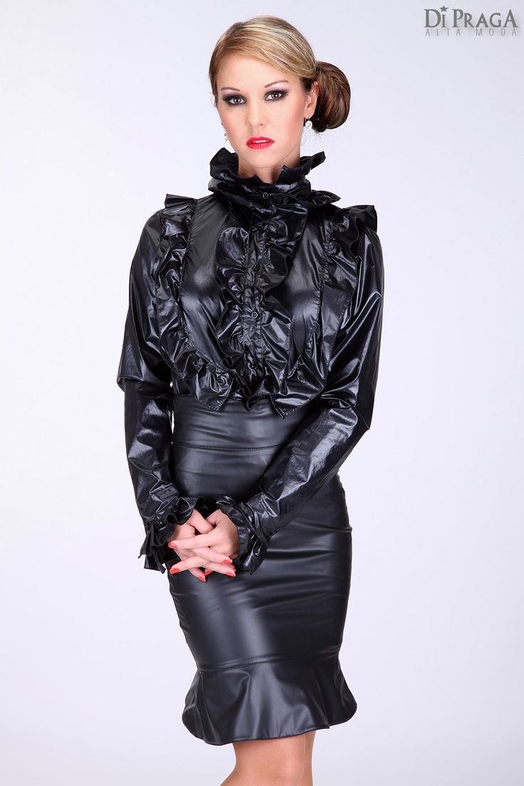 Black Leather Skirt and Ruffled Black Satin Blouse | Leather and ...
