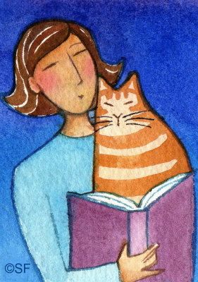 Orange Tabby Library Cat... Original ACEO Watercolor Painting by Susan Faye