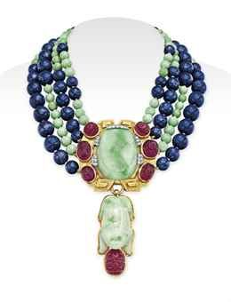 A JADEITE, DIAMOND AND MULTI-GEM PENDANT NECKLACE, BY DAVID WEBB, Christie's Magnificent Jewels - Dec. 10, 2014