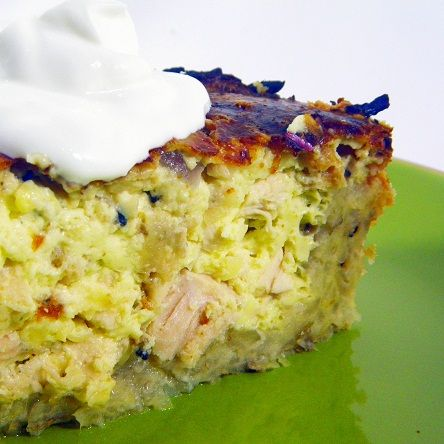 Chicken, Onion and Herb Quiche ~ Low Carb, by using different crust, (recipe calls for a hash brown crust) or make a no crust. Quiche is made in a spring form pan