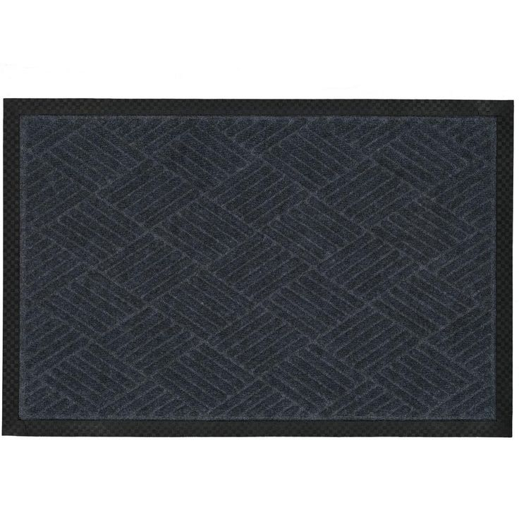 Charcoal (Grey) 18 in. x 30 in. Ribbed Carpet Natural Rubber Door Mat