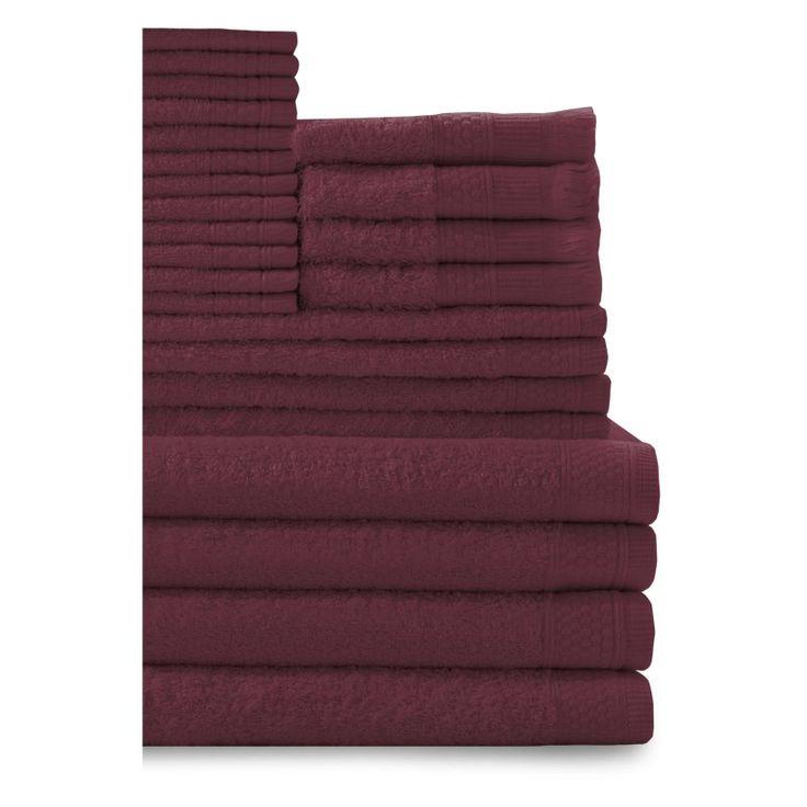 Baltic Linen Company 24 Piece Multi Count Complete Cotton Towel Set Crimson - 353624310