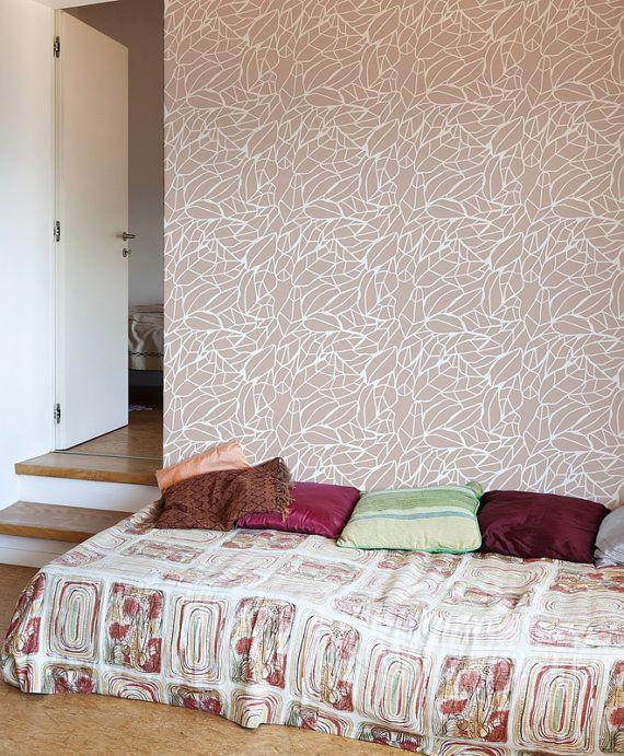 The Leaf  Decorative Scandinavian wall stencil  DIY by StenCilit