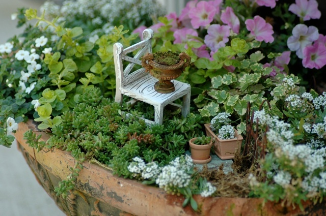 We are so doing a fairy garden this year!: Fairies Chairs, Tiny Gardens, Flowers Pots, Fairies Gardens, Minis Gardens, Fairies House, Gardens Planters, Dollhouses Miniatures, Miniatures Gardens