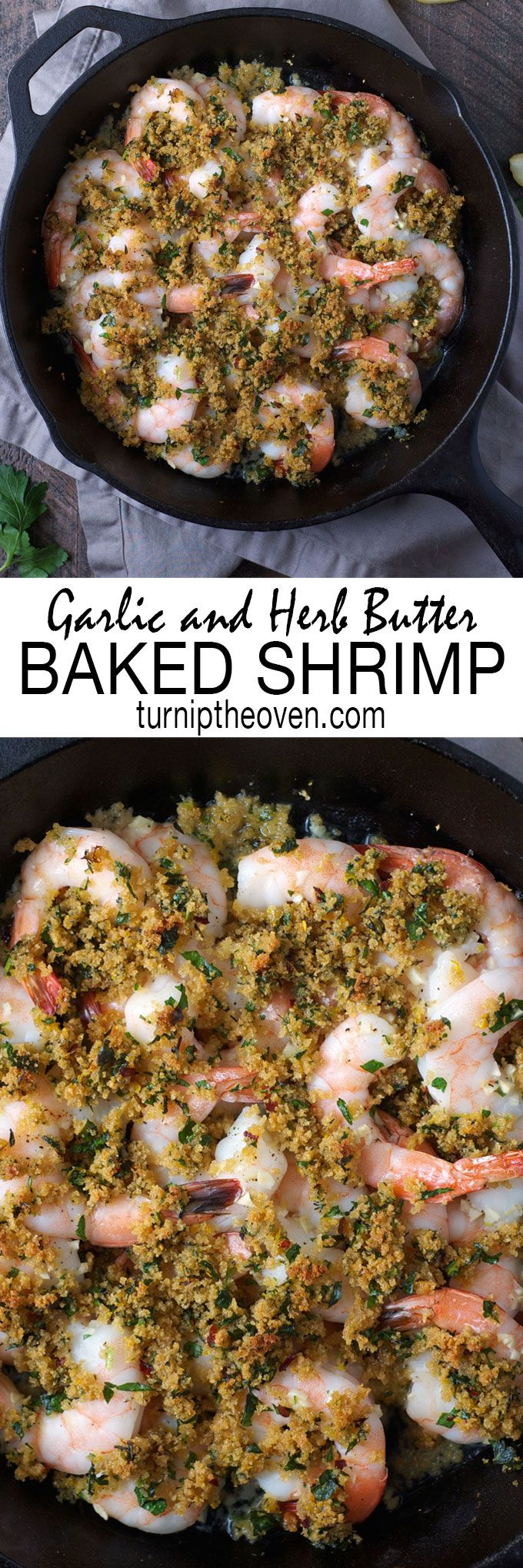 This simple shrimp dinner is ready in less than 30 minutes. It's light, healthy, and bursting with the flavors of garlic, fresh herbs, and toasty buttered panko breadcrumbs. Don't forget a baguette for mopping up all the delicious sauce!