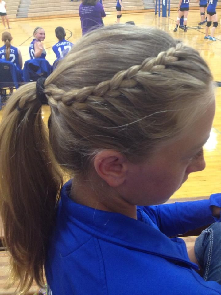 French braid into ponytail. Great for sports! I did it to a lot of the volleyball girls for their hair! Looks great keeps your hair away!