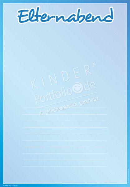 """Kindergarten Portfolio Vorlage """"Elternabend"""""""