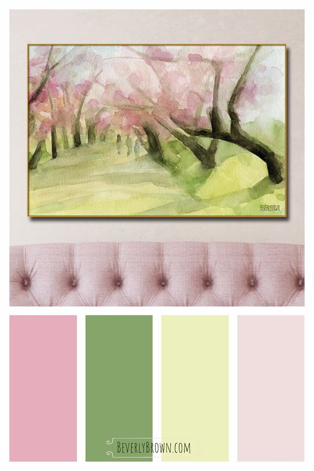 Central Park Cherry Blossoms Painting Wall Art Shabby Chic Paint