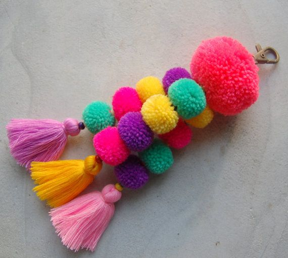 Pink Pom Pom Tassel Beach Bag Accessory