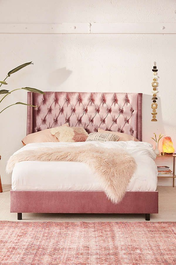 Beautiful Bed Rose Velvet Tufted Pink Bed High Back