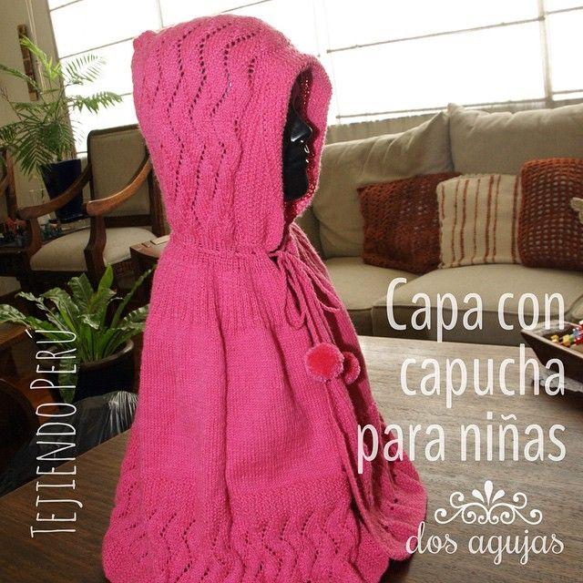 Capa con capucha tejida en dos agujas o palitos para niñas!