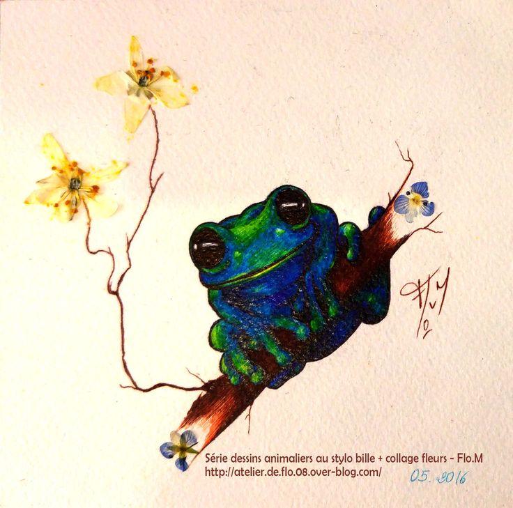 Série animalière - Petit format (10x10cm) Stylo bille couleur + collage fleurs 45€ (+10€ frais de port)