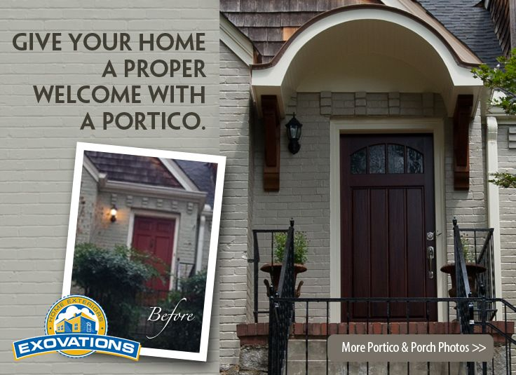 Replacing the front door and adding this beautiful portico and decorative brackets makes for a really impressive and welcoming entry. Plus, covered front steps will protect you -- and your gorgeous wooden door -- from the elements.